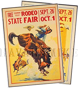 Set of Two (2) Rodeo State Fair Poster Reprints Circa 1920 - Measures 24