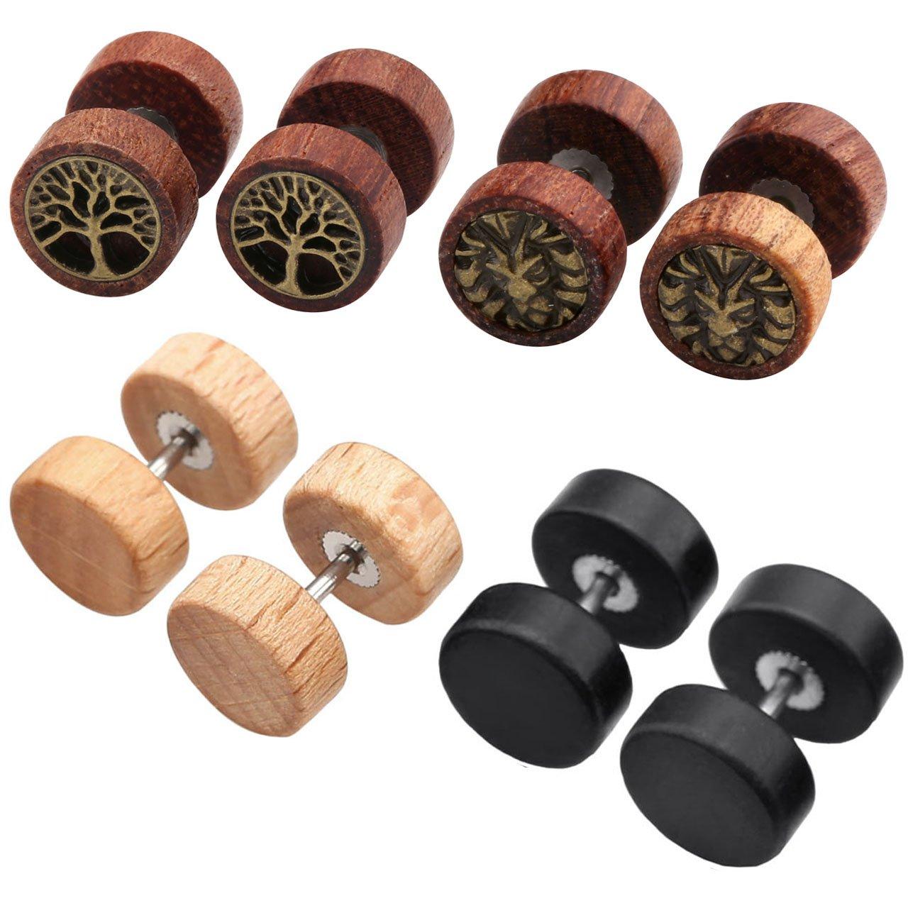 Jovivi 2-4pc Organic Sono Wood Lion Head/Tree of Life Cheater Fake Ear Plugs Gauges 10mm Illusion Screw Stud Earrings AJ1010104128