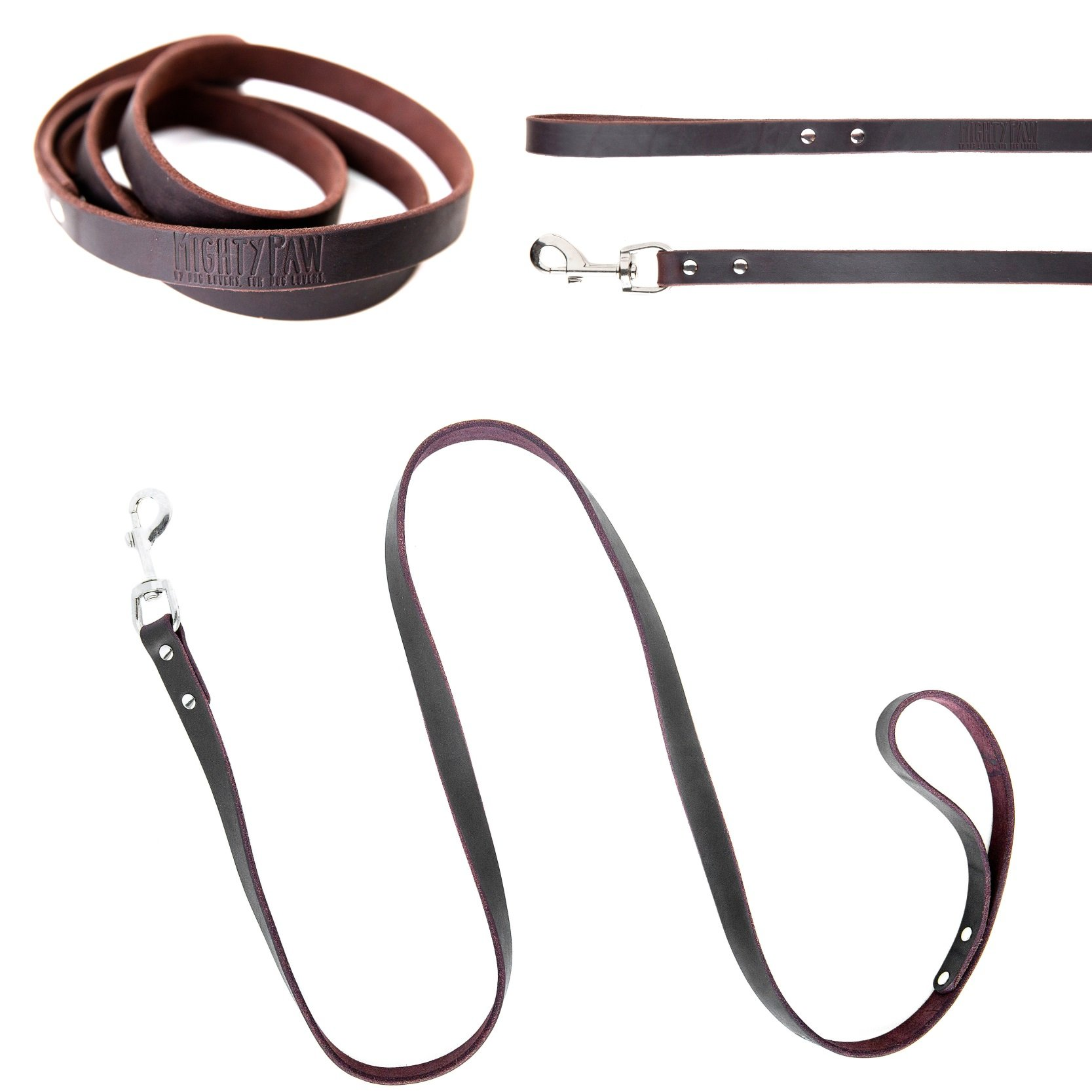 Mighty Paw Leather Dog Leash, Super Soft Distressed Leather- Premium Quality, Modern Stylish Look