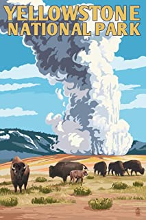 product image for Yellowstone National Park, Wyoming - Old Faithful Geyser and Bison Herd (24x36 Giclee Gallery Print, Wall Decor Travel Poster)