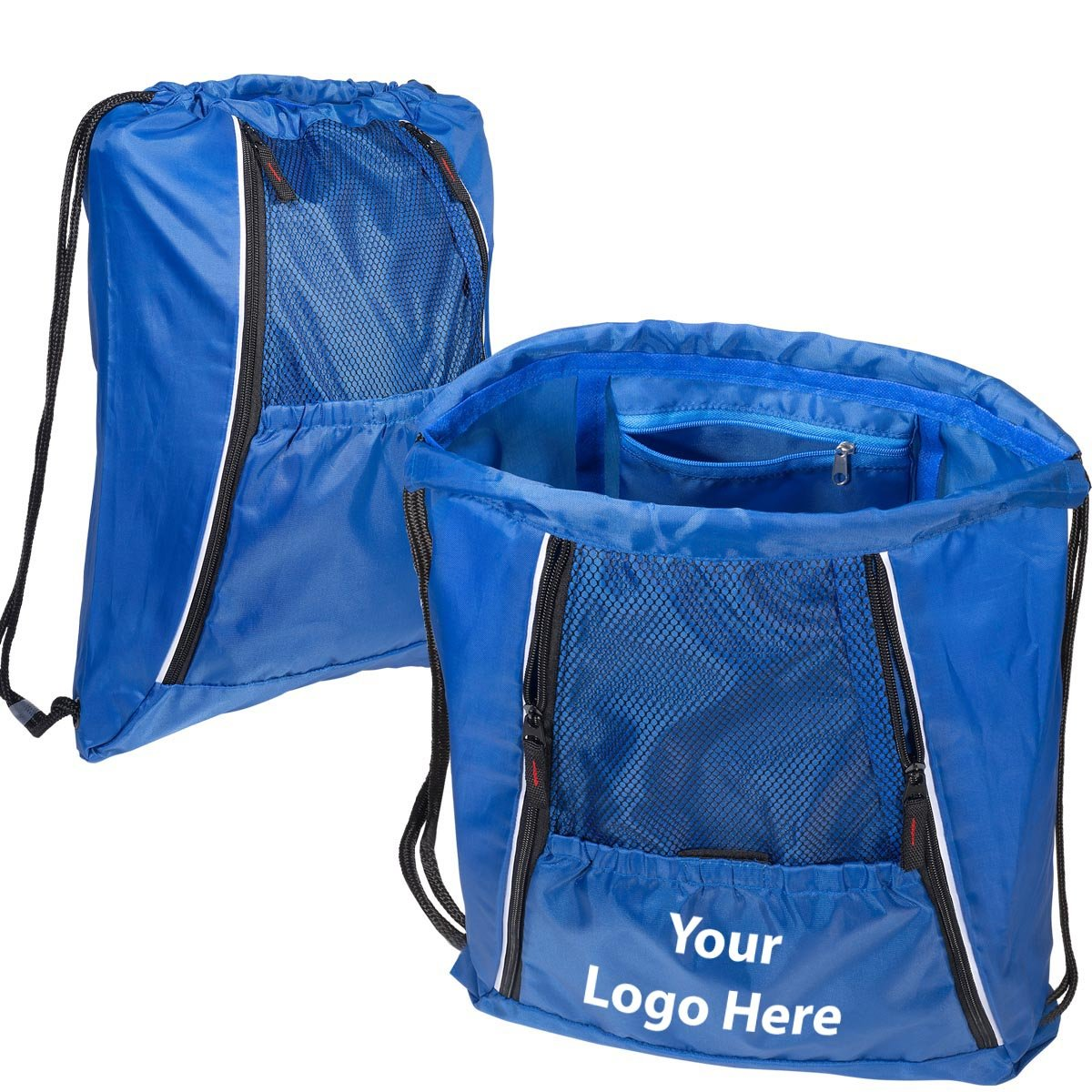 Multi Pocket String A Sling Backpack - 25 Quantity - $8.45 Each - PROMOTIONAL PRODUCT / BULK / BRANDED with YOUR LOGO / CUSTOMIZED by Sunrise Identity
