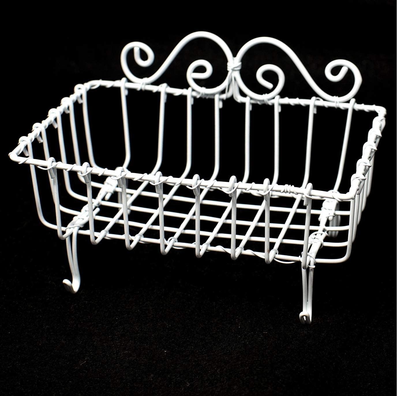 WHITE VINTAGE WIRE SPONGE BASKET - Soap holder in antique French provincial farmhouse style rustic functional country decor soap or sponge accessory for your home cabin kitchen bathroom bath shower