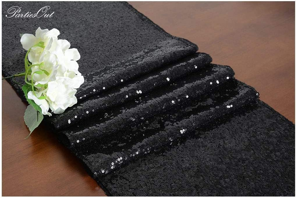 Table Runner Black 12x72 Sequin Table Runner Glitter Sequin Table Runner Wedding Table Runners 12x72inches Black Rustic Table Runner Wedding Perfect for Party Christmas Holiday Decorations