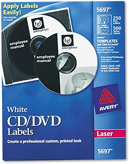 Amazon Com Avery 5697 Laser Cd Labels Matte White Pack Of 250 All Purpose Labels Office Products
