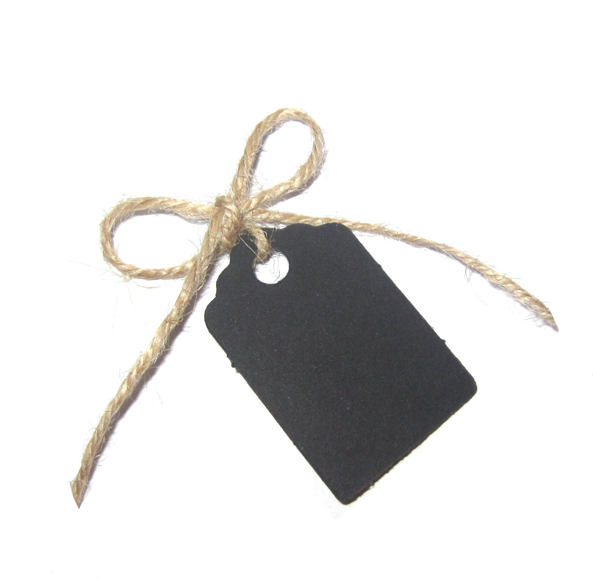 50 Small Gift Tags/Wedding Tags/Favour Tags (with 12 Metres of Uncut Natural Jute Twine) - 42mm x 28mm (100% Recycled Card) (Black)