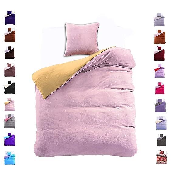 135x200 cm Bettwäsche mit 1 Kissenbezug 80x80 Mikrofaser Weich Warm Winter Kuschelig Bettbezug Bettwäschegarnitur stahl gelb