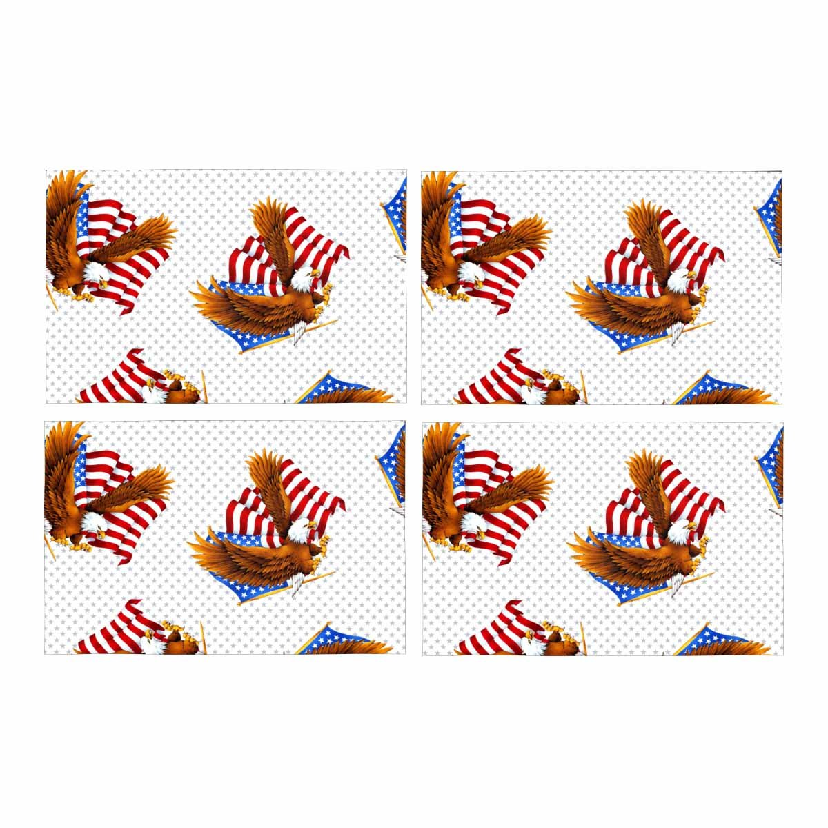 InterestPrint Eagle Stars Stripes America Placemat Place Mat Set of 4, Table Place Mats for Kitchen Dining Table Restaurant Home Decor 12''x18''