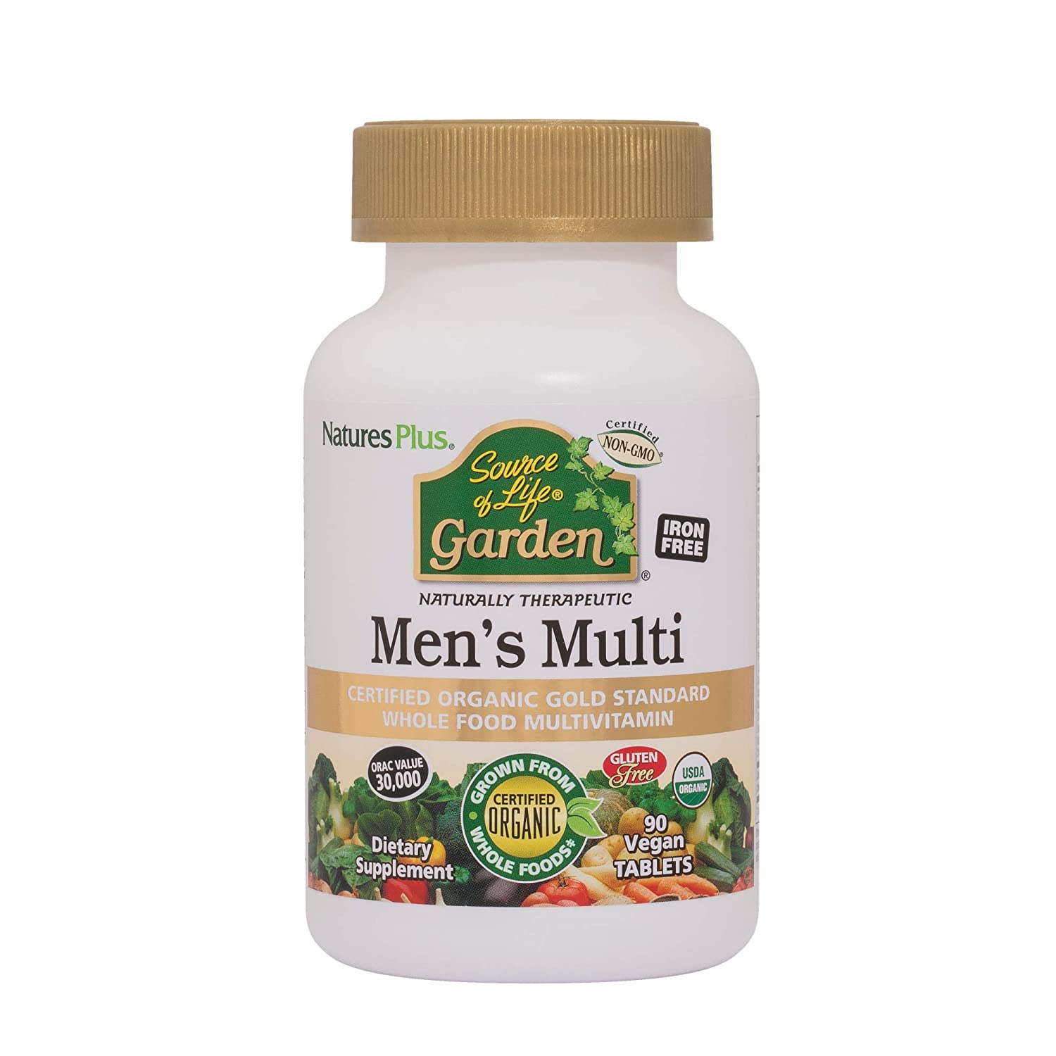 NaturesPlus Source of Life Garden Certified Organic Mens Multivitamin – 90 Vegan Tablets – Pure, Natural Whole Food Ingredients – Energy Boost – Vegetarian, Gluten-Free – 30 Servings