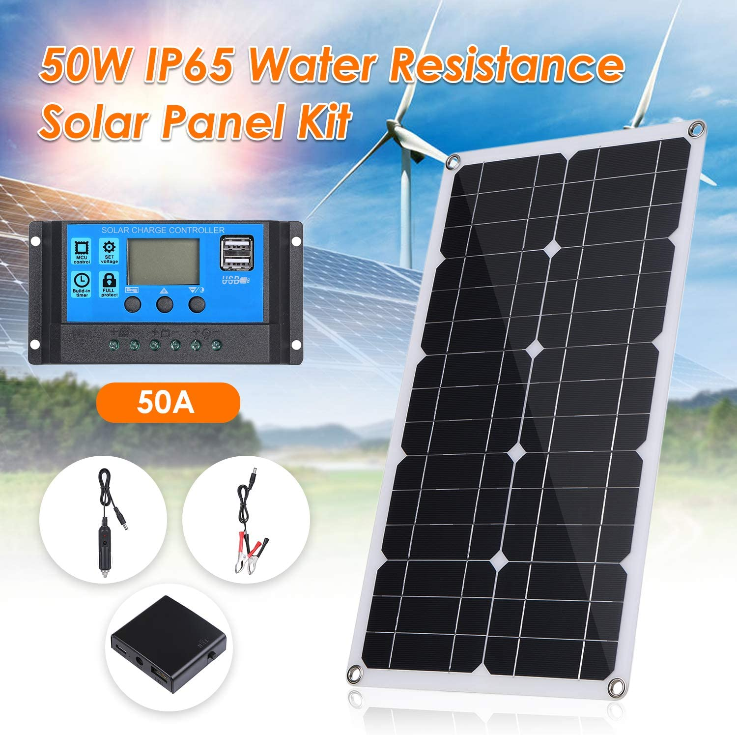 Vislone Solar Panel Car Battery Charger Flexible Portable Solar Battery Maintainer with Cigarette Lighter Plug and Alligator Clip for for Home Car Boat Indoor Outdoor Use