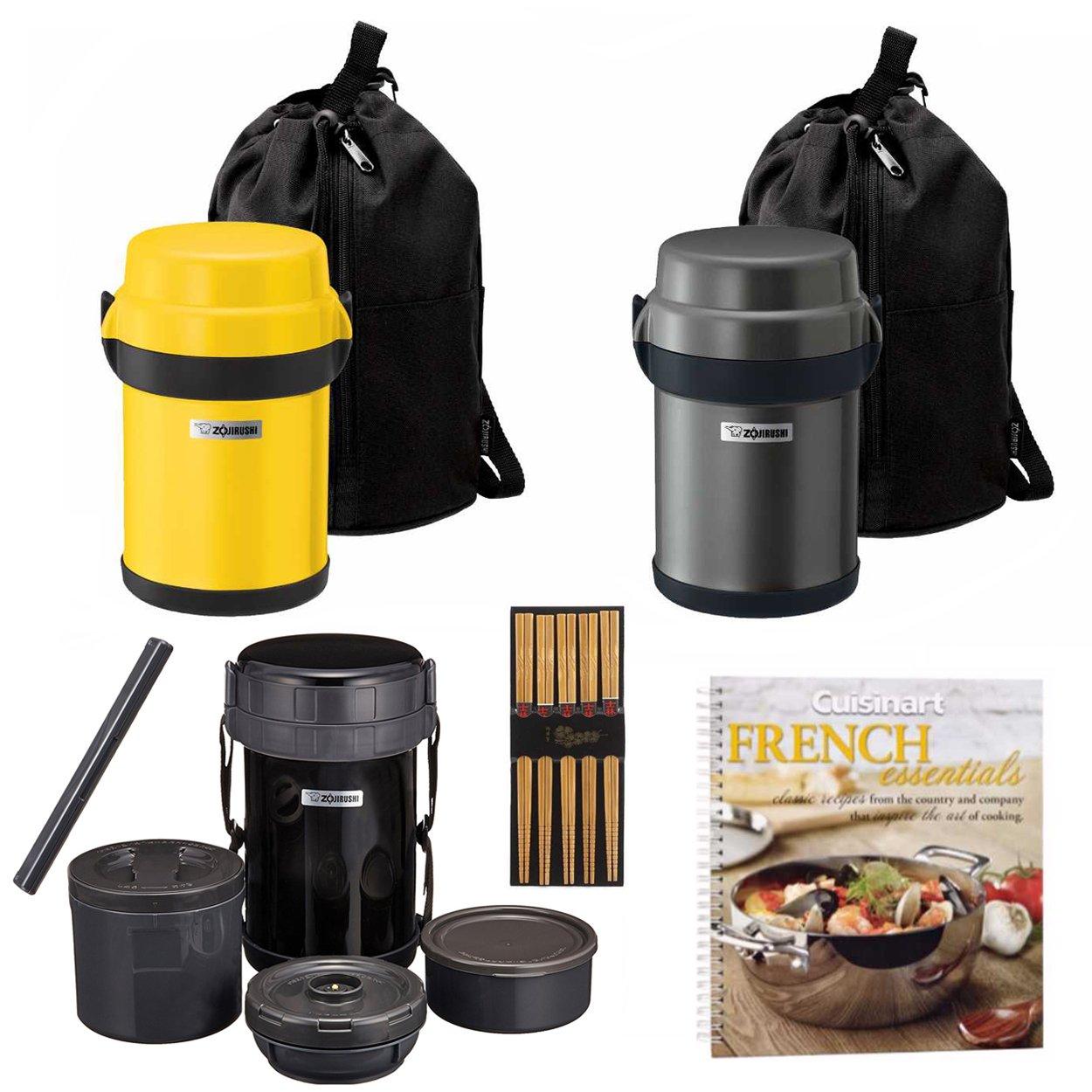 Zojirushi Classic Stainless Lunch Jar 3 Pack. Black, Gun Metal and Yellow + Free Cookbook and Chopsticks.