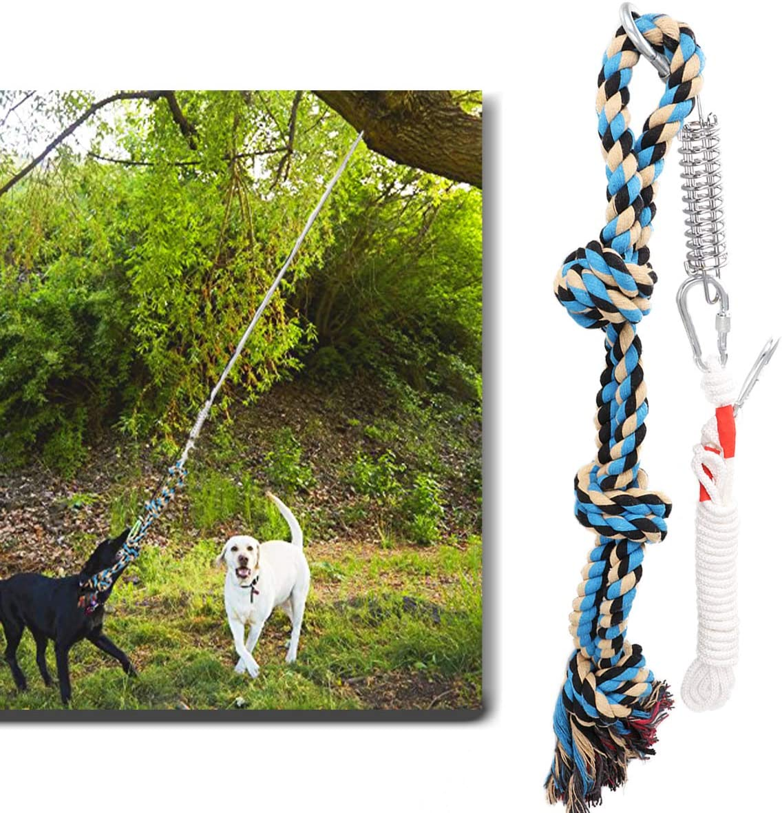 Lovinouse Spring Pole Dog Rope Toy, Strong Tug of War Toys for Pitbull, Medium or Large Dogs, Outdoor Hanging Exercise Play Pull Dog Toys Muscle