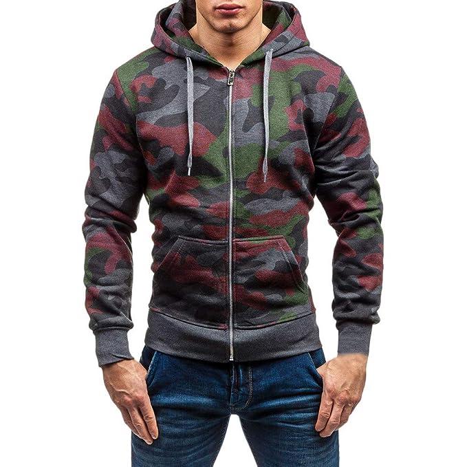 OSYARD Herren Slim Camouflage Full Zip Kapuzenpullover
