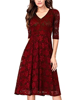 f56c594fd31 Noctflos Women s 3 4 Sleeves Lace Fit   Flare Midi Cocktail Dress for Women  Party