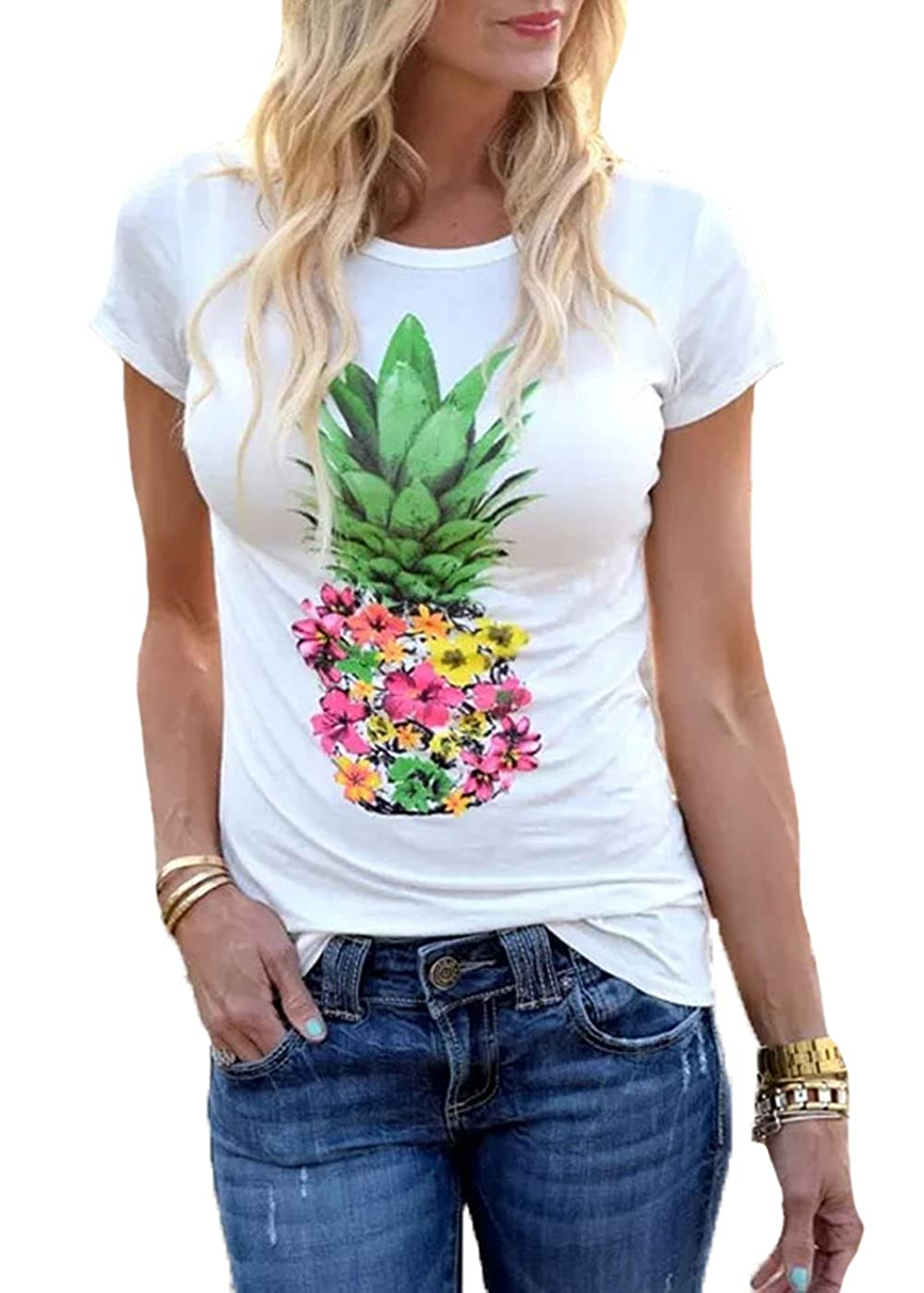 95a4e2f3fe Amazon.com  ADDRUALI0 Women Pineapple Flower T Shirts Funny Casual Short  Sleeve Tops  Clothing