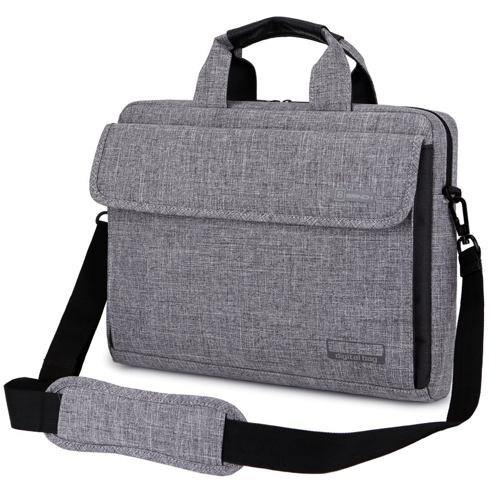 Brinch 13.6 Inch Unisex Fabric Laptop Sleeve Messenger Shoulder Bag for 13-13.6 Inch Laptop/Notebook/MacBook/Ultrabook/Chromebook Computers (Grey) by BRINCH (Image #9)