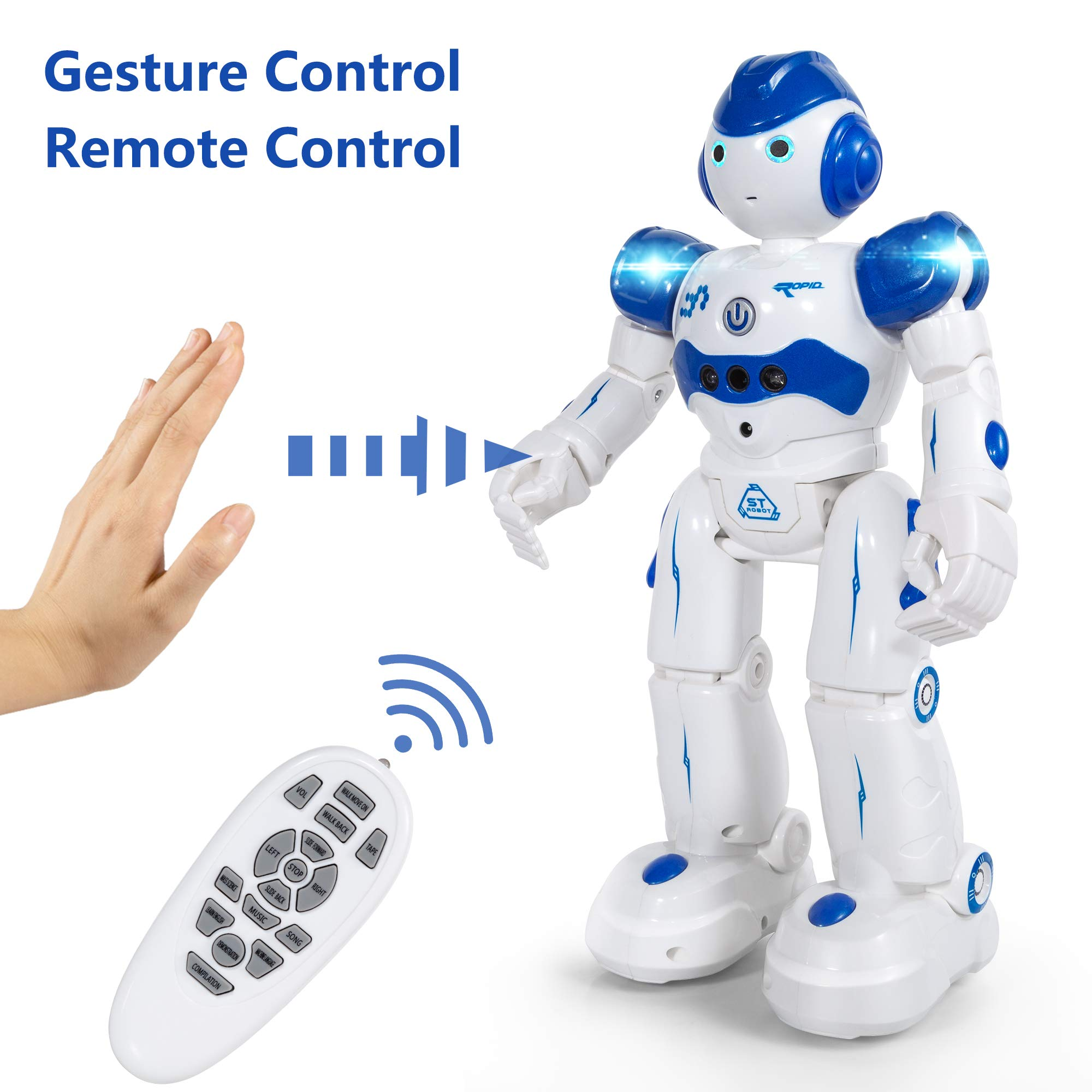 JIMITE Remote Control Robot Kids, Intellectual Gesture Sensor & RC Remote Control Rechargeable Robot Toys Kids Walking, Sliding, Turning, Singing, Dancing, Speaking Teaching Science