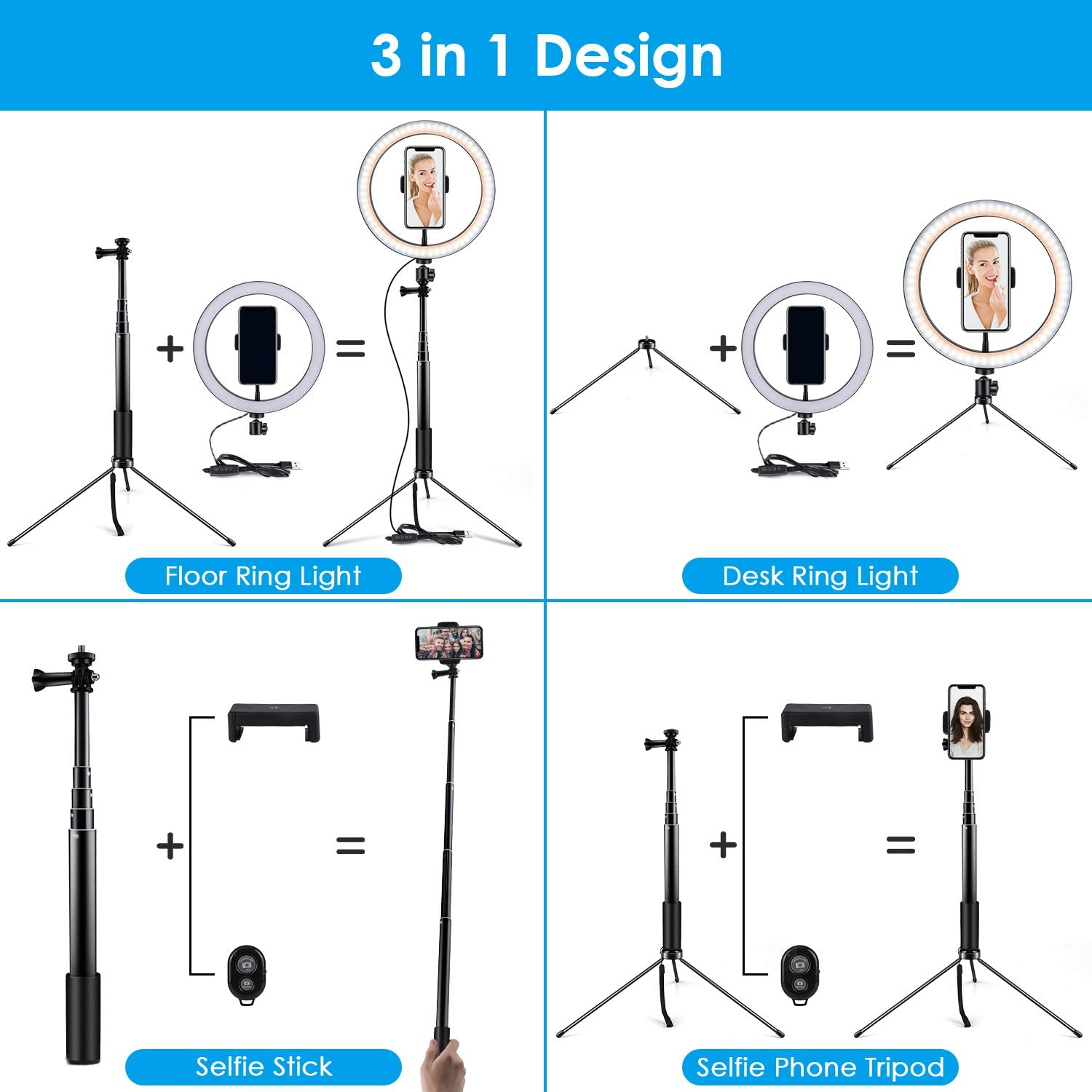 Remote Control 3 Modes /& 10 Brightness 120 Bulbs Dimmable Desktop Ringlight for YouTube Video//Live Stream//Makeup//Photography 14.56 to 65 Ring Light 10 Selfie Light Ring with Adjustable Bracket