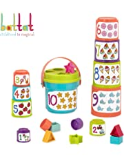 Battat - Sort & Stack - Educational Stacking Cups with Numbers and Shapes for Toddlers