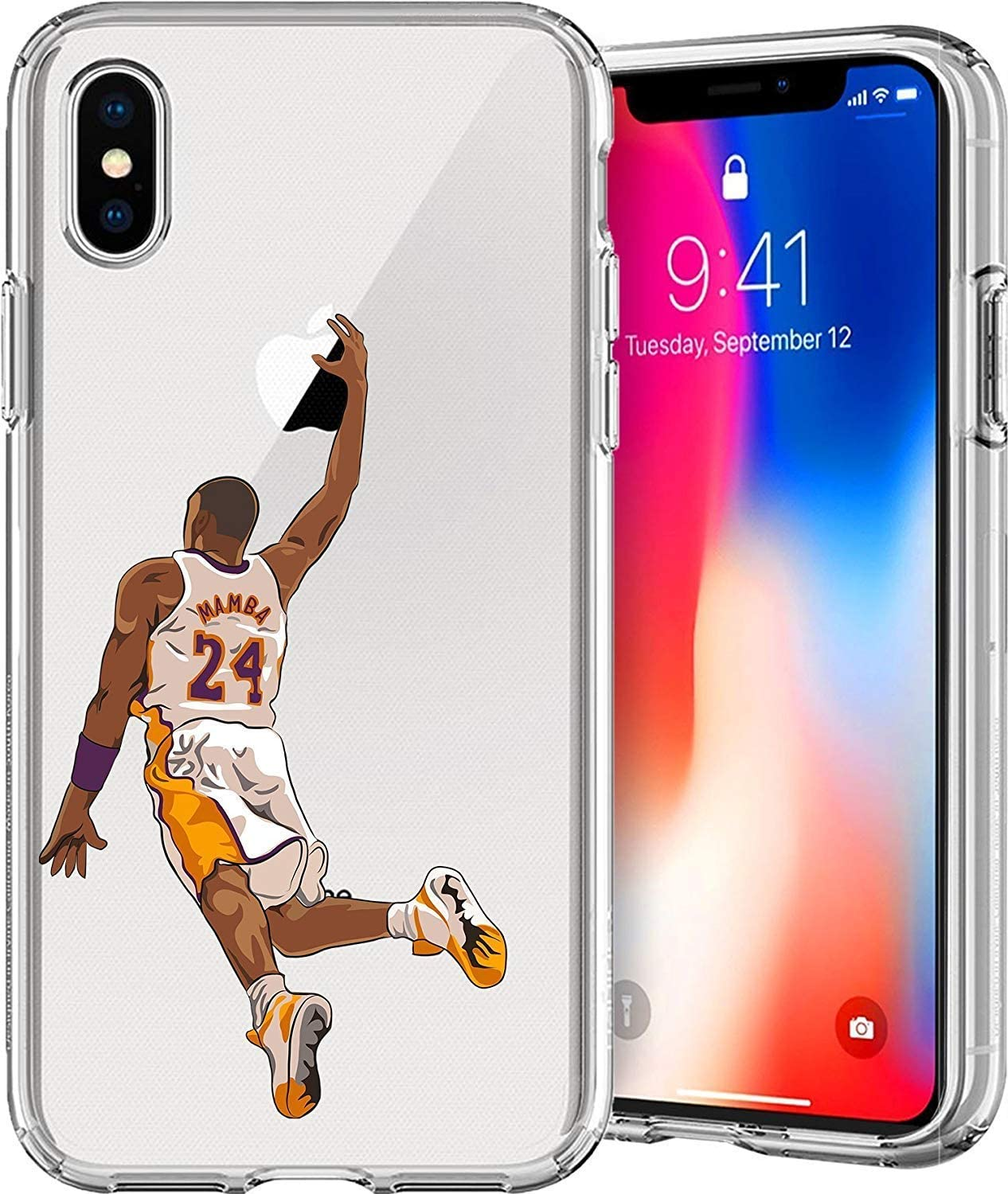 ETERINS Cases Ultra Slim [Crystal Clear] [Hardwood Series] Soft Transparent TPU Case Cover - Mamba for iPhone XR(6.1)