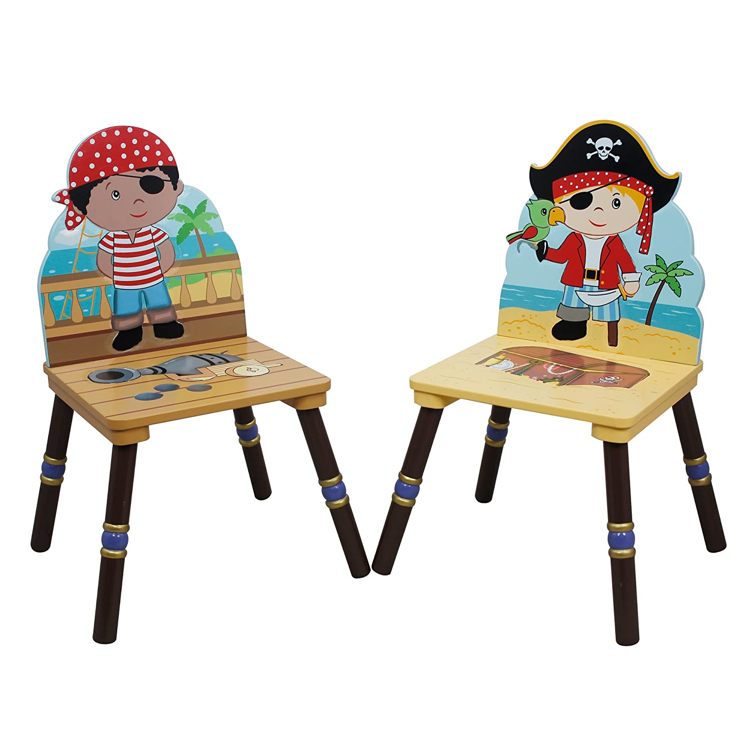 Fantasy Fields - Pirate Island themed Kids Wooden 2 Chairs Set Black & Red (Table Sold Seperately)| Hand Crafted & Hand Painted Details | Child Friendly Water-based Paint Fantasy Fields By Teamson TD-11593A2