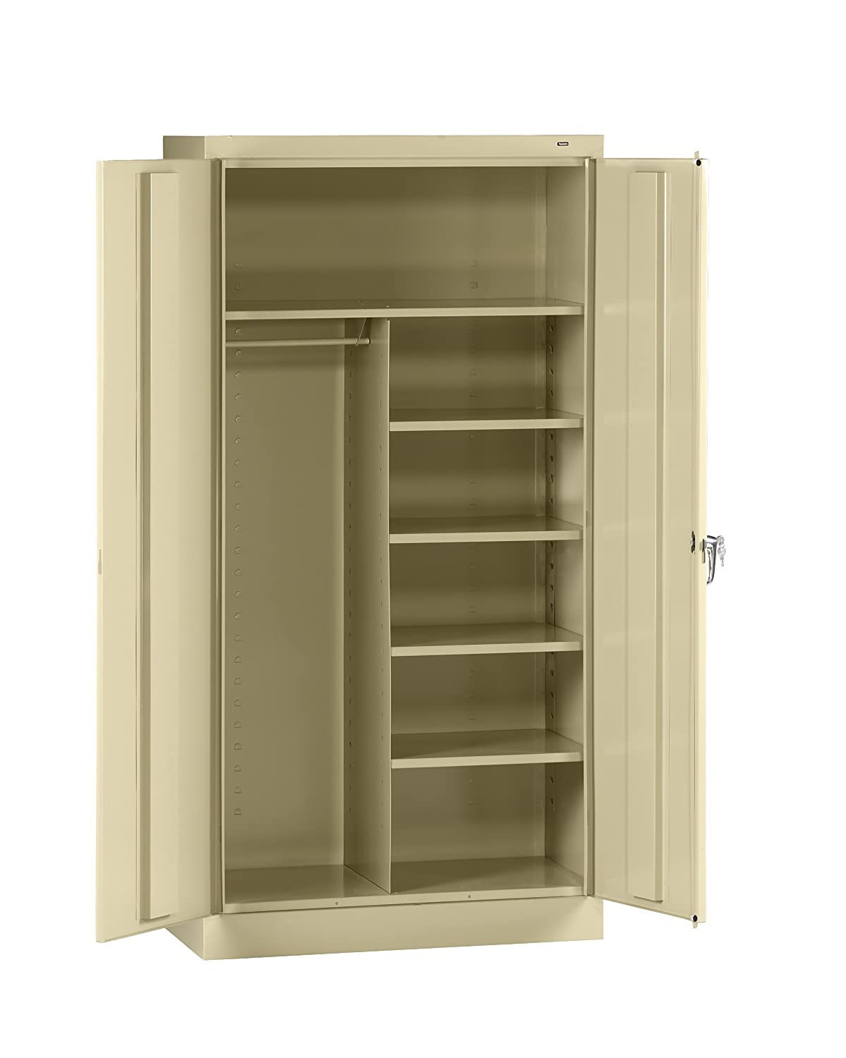 "Tennsco 7214 24 Gauge Steel Standard Welded Combination Storage Cabinet, 5 Shelves, 150 lbs Capacity per Shelf (50 lbs per half shelf), 36"" Width x 72"" Height x 18"" Depth, Putty"