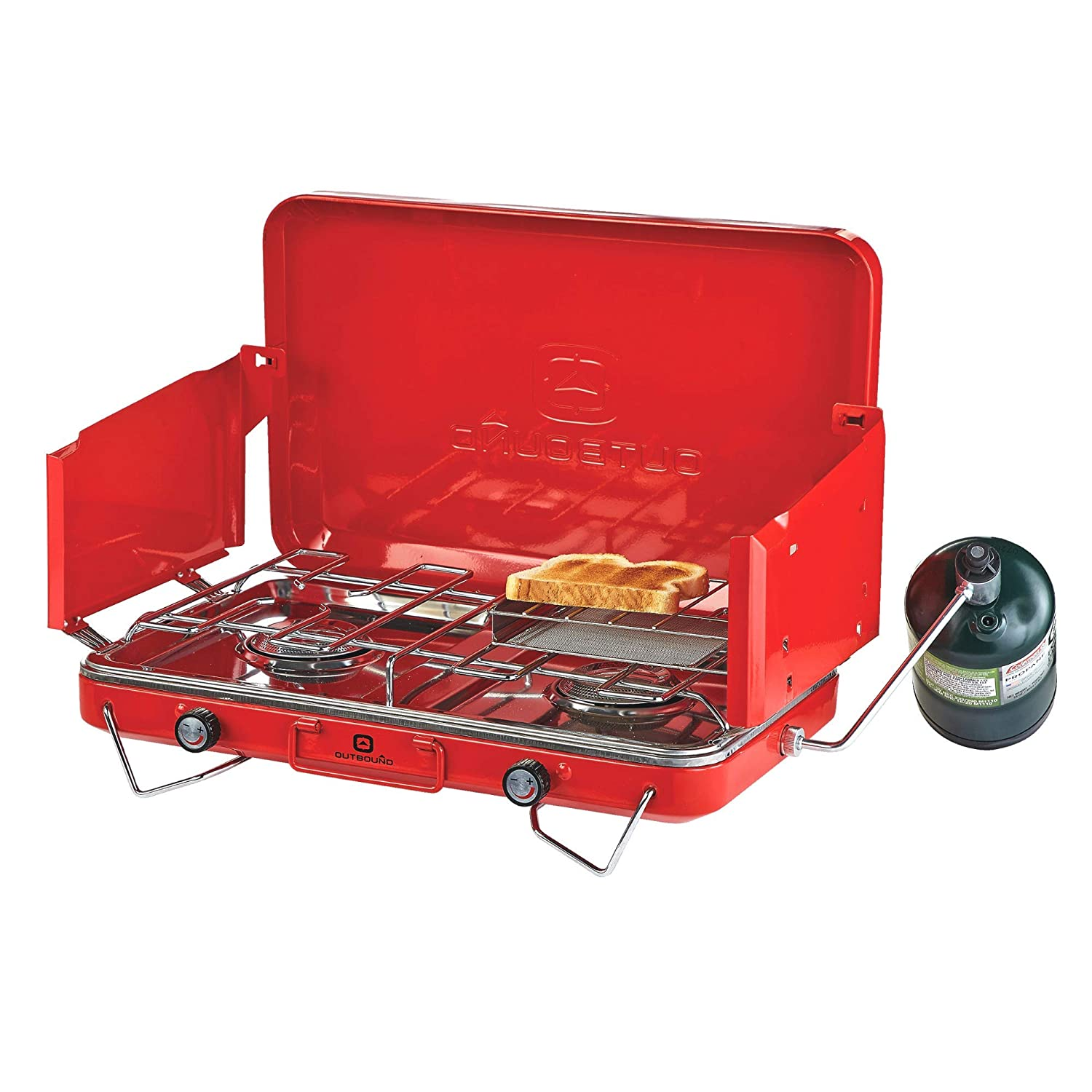 Perfect Camp Stove for Backpacking Outbound Camping Stove Portable Propane Gas Stove 2 Burners and Outdoor Cooking Camping Fishing