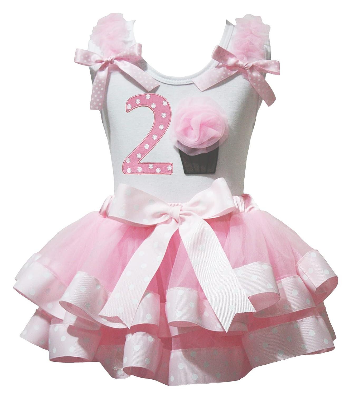 Petitebella 2nd Cupcake Birthday Dress White Shirt Pink Dots Petal Skirt Nb-8y PO1328