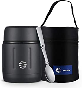 FEIJIAN Food Thermos, Thermos Stainless Steel 16 Ounce Food Jar with Folding Spoon for Kids Adults Lunch Box, Wide Mouth Lunch Containers for School Soup Thermos, Travel Food Flask Hot Cold - Black