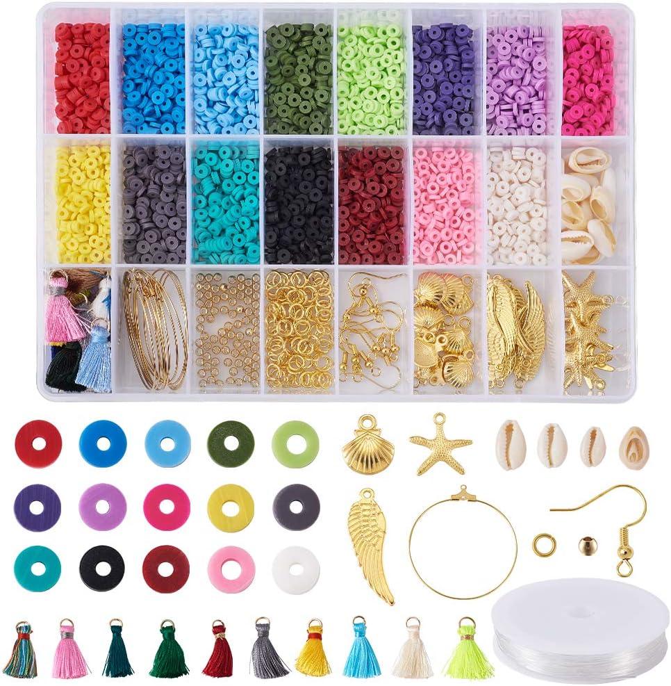 Cherislwey Heishi, cuentas de arcilla de 4 mm, fornituras de arcilla polimérica redondas planas para pendientes, pulseras, fabricación de joyas