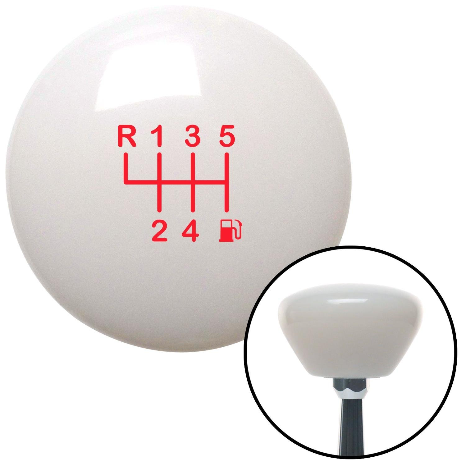 American Shifter 280492 Shift Knob Red 6 Speed Shift Pattern - Gas 20 White Retro with M16 x 1.5 Insert