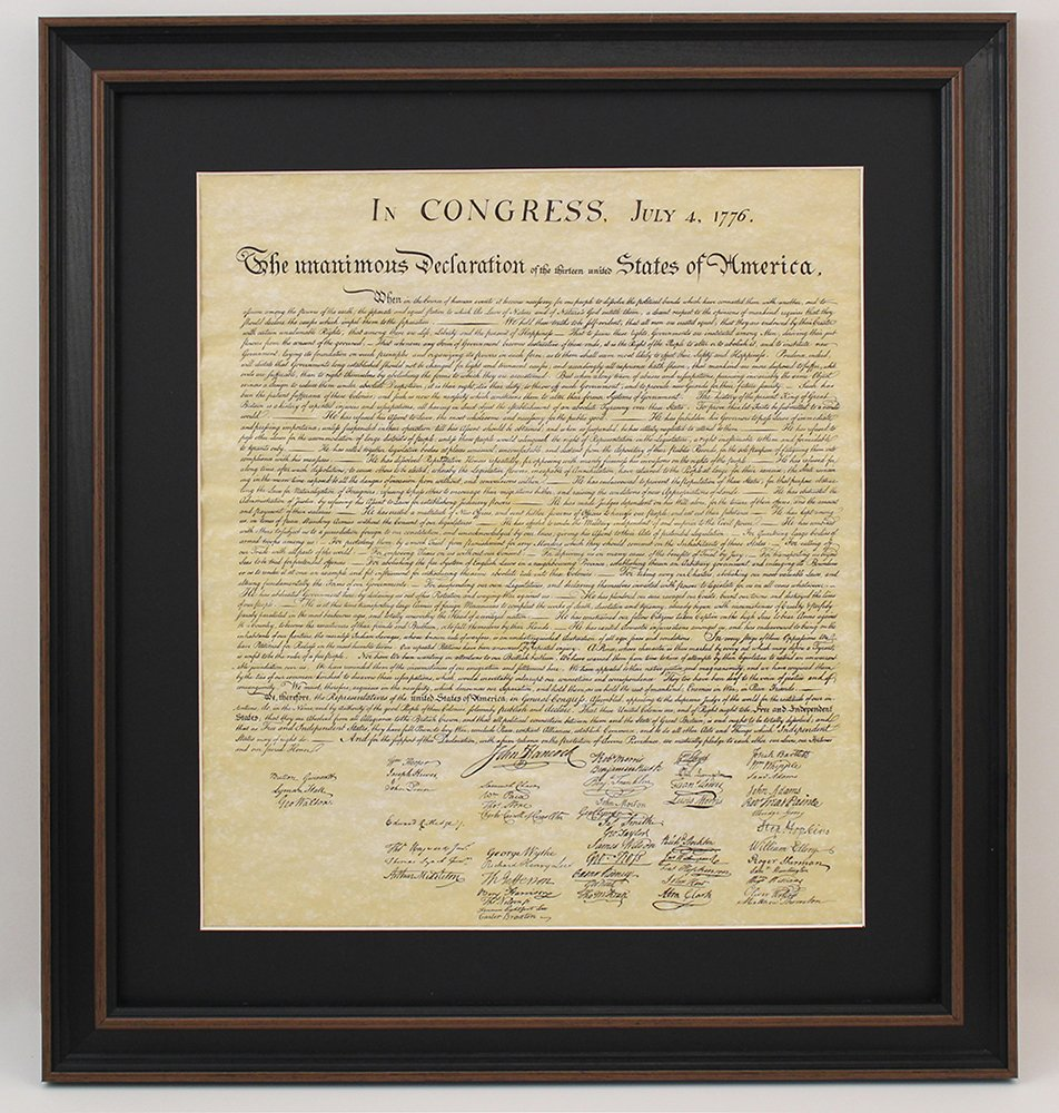 Framed Declaration of Independence with Black Matte