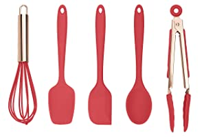 Cook With Color Set of Five Red and Rose Gold Silicone Mini Kitchen Utensil Set