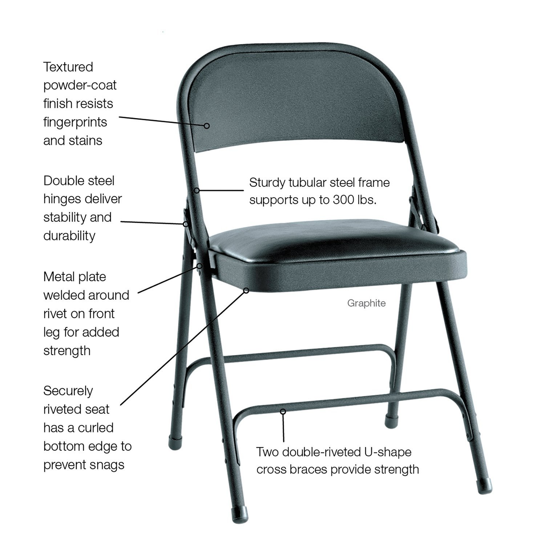 Amazon ALEFC94VY10B Steel Folding Chair w Padded Seat 4