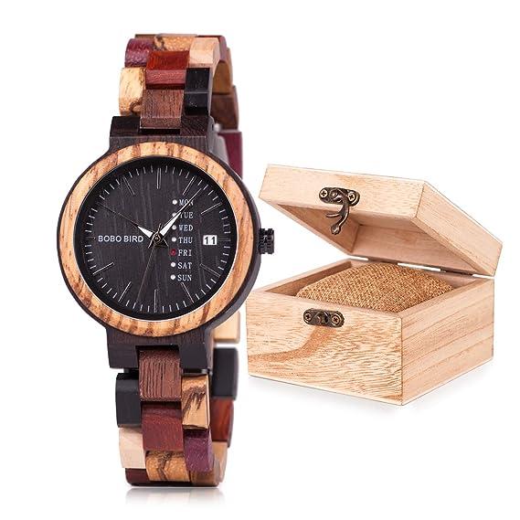 Reloj de pulsera de madera de bambú para mujer, con visualización de fecha y semana, de cuarzo: Amazon.es: Relojes
