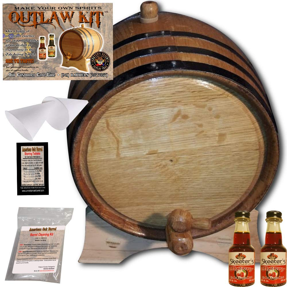 Barrel Aged Whiskey Making Kit - Create Your Own Cherry Bourbon Whiskey - The Outlaw Kit from Skeeter's Reserve Outlaw Gear - MADE BY American Oak Barrel (Natural Oak, Black Hoops, 2 Liter)