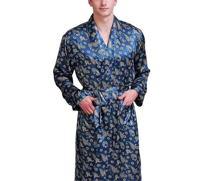 Bata de Seda para Hombre Bata de baño Ropa de Dormir Pijamas S-3XL ...