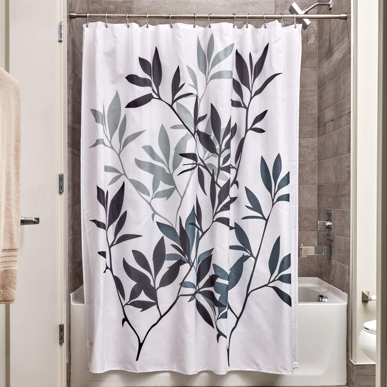 iDesign Leaves Fabric Shower Curtain, Modern Mildew-Resistant Bath Curtain for Master Bathroom, Kid's Bathroom, Guest Bathroom, 72 x 72 Inches, Black and Gray
