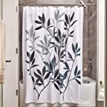 "InterDesign Leaves Fabric Shower Curtain - Stall, 54"" x 78"", Black/Gray"