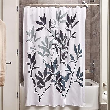 InterDesign 35620 Leaves Fabric Shower Curtain - Standard, 72  x 72 , Black