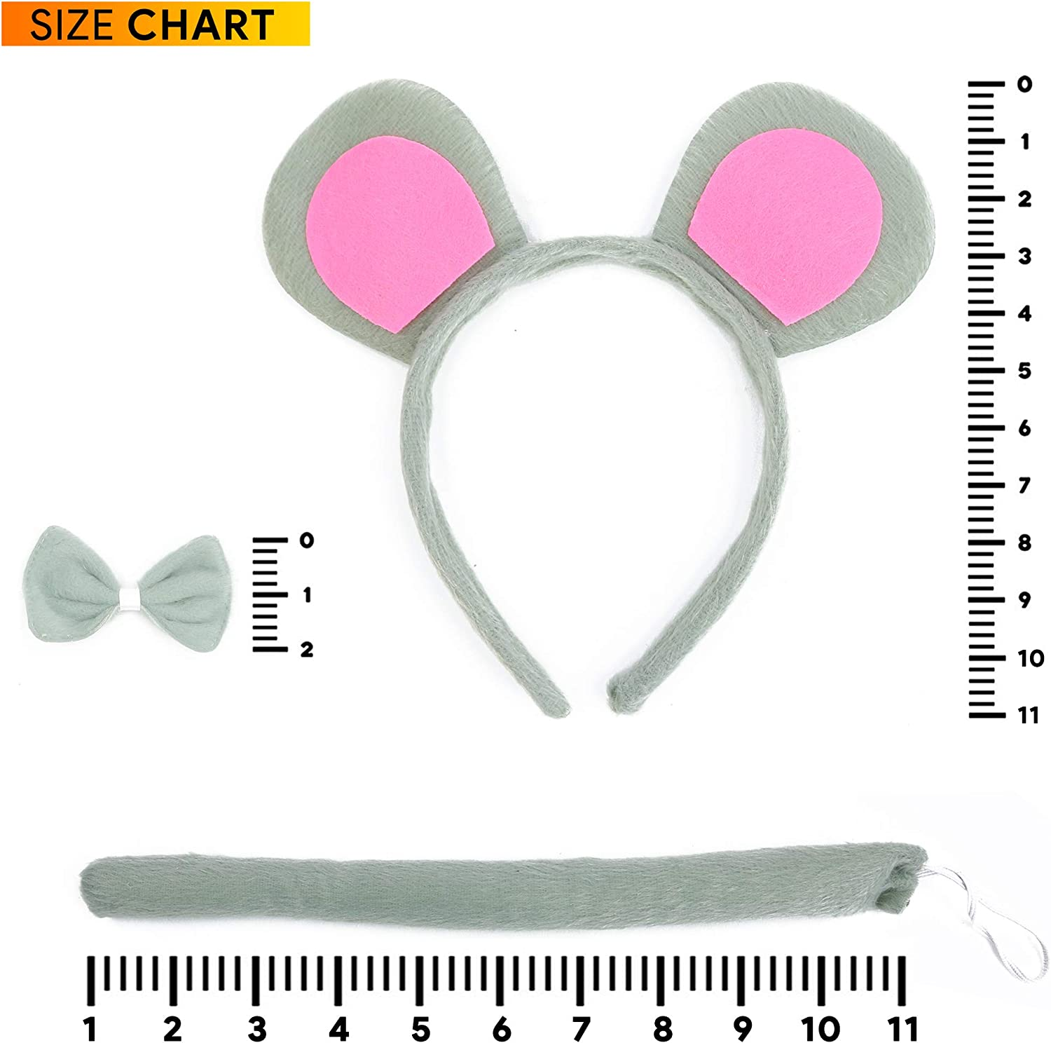 Mouse Kit Ears Tail Gray Grey Animal Dress Up Halloween Child Costume Accessory