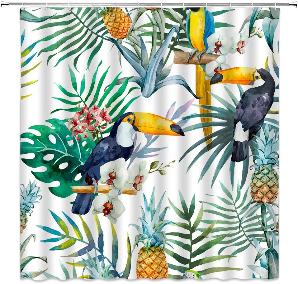 Tropical Palm Leaf Shower Curtain Toucan Watercolor Pineapple Macaw Orchid Exotic Birds Wild Animal Hawaiian Green Jungle Botanical Garden Summer Fruit Bathroom Decor with Hook Polyester