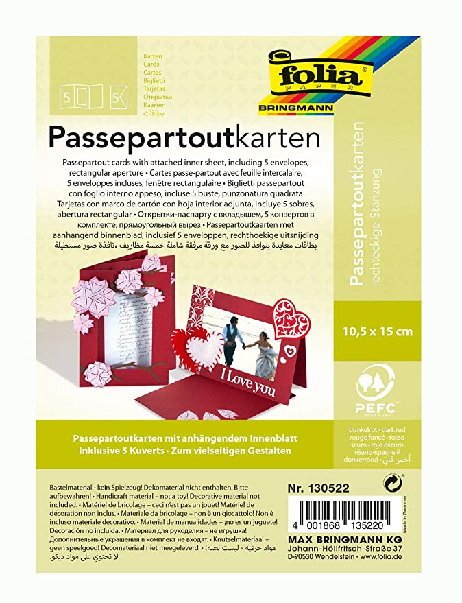 Passepartout-Karten Rechteckig Kartengröße 10,5x15 cm 10Sets