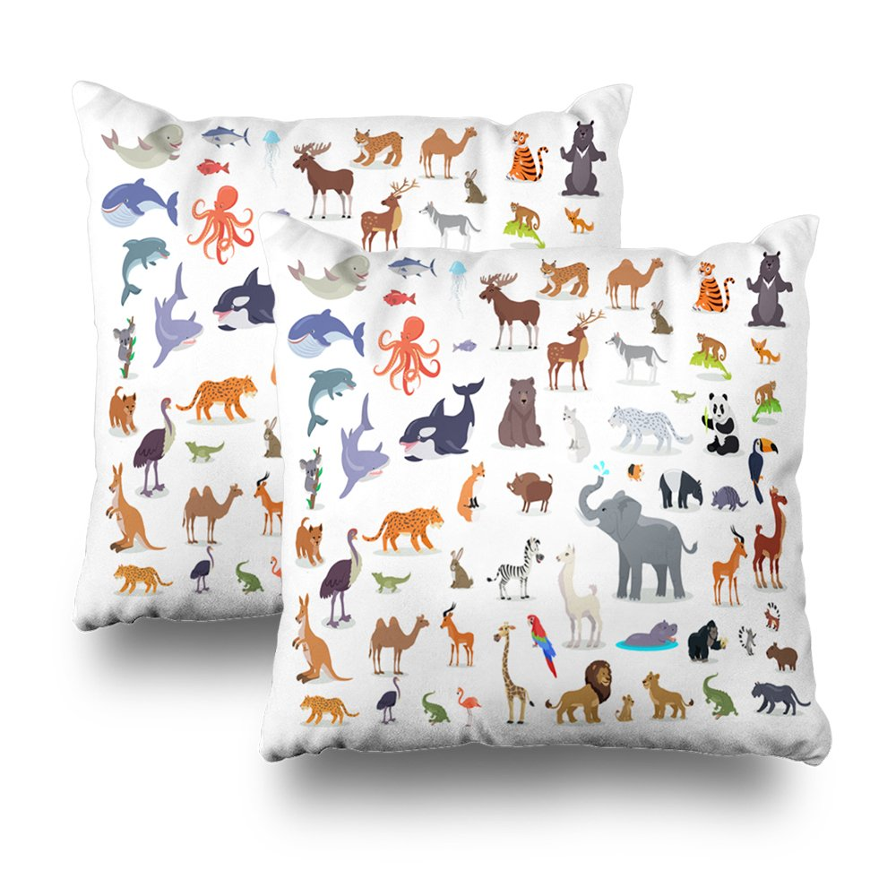 Soopat Decorativepillows Covers 18''x18'' set of 2, Two Sides Printed Big Wild Animals CartoonAfrican Australian Arctic Asian S h And North American Fauna Predators Throw Pillow Cases Home Decor