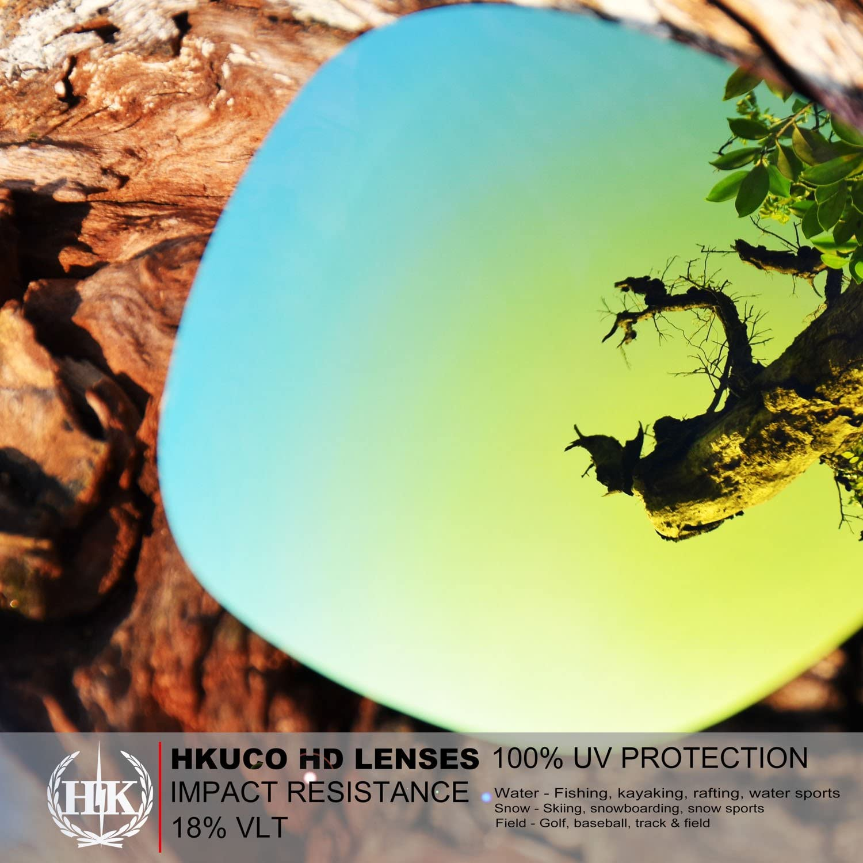 HKUCO Mens Replacement Lenses for Oakley Breadbox Sunglasses 24K Gold/Emerald Green