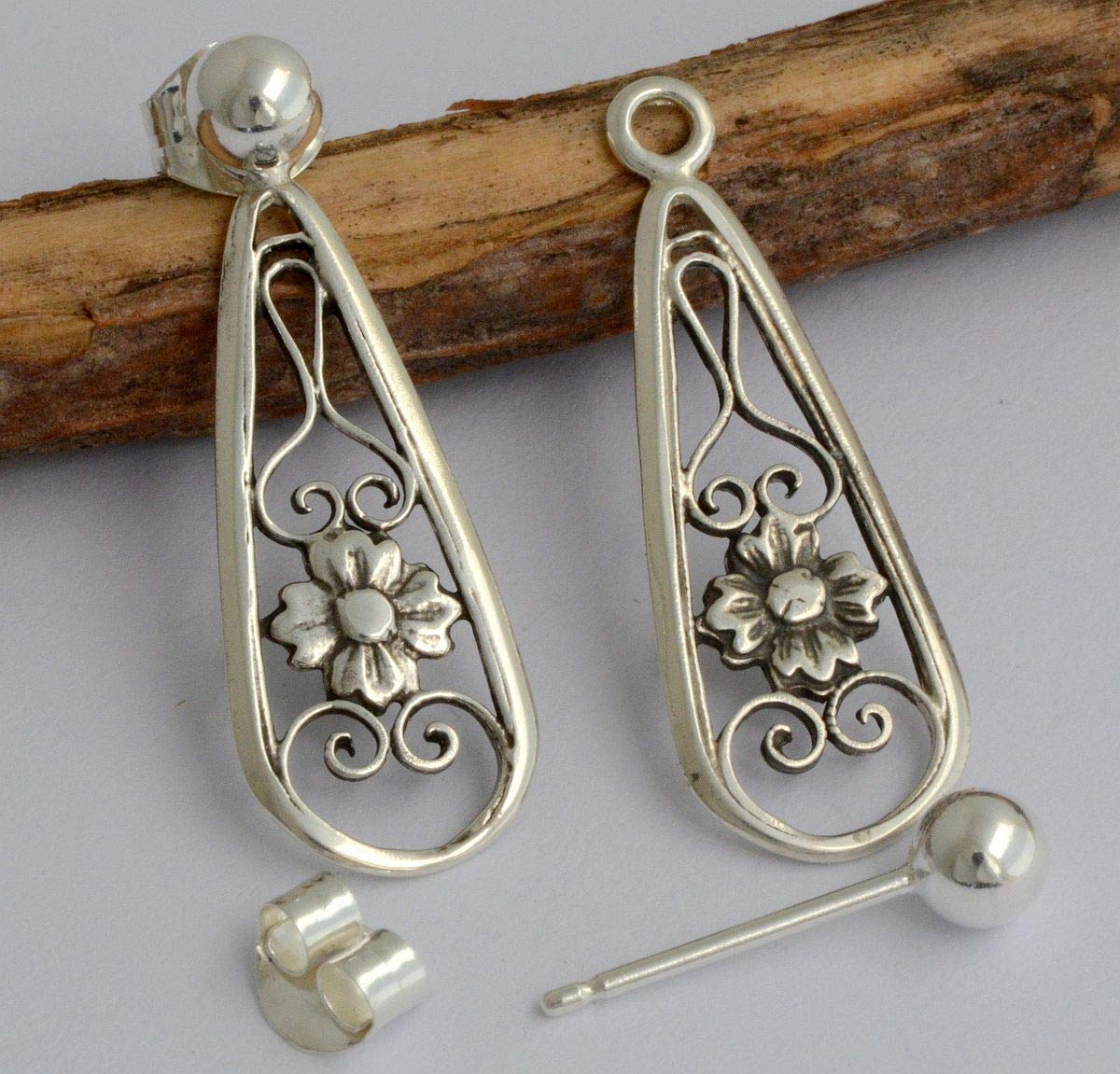 Tiny 2 in 1 little petite thin small double two sided front back ear jackets sterling silver ball stud earrings