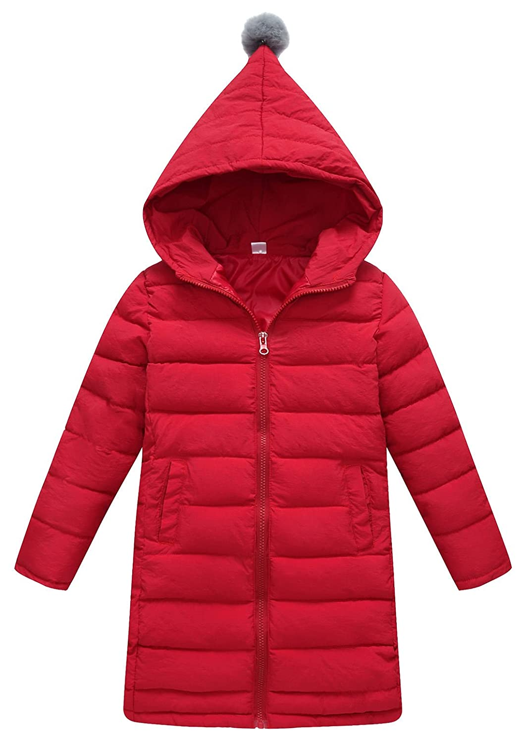 SLUBY Girls Hooded Down Jacket Lightweight Winter Outerwear Slim Puffer Coat