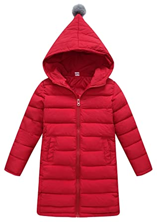 a55b45825aa SLUBY Toddlers Girls Feather Jacket Overcoat Warm Light Weight Puffer  Outwear Red 3-4Y 110CM
