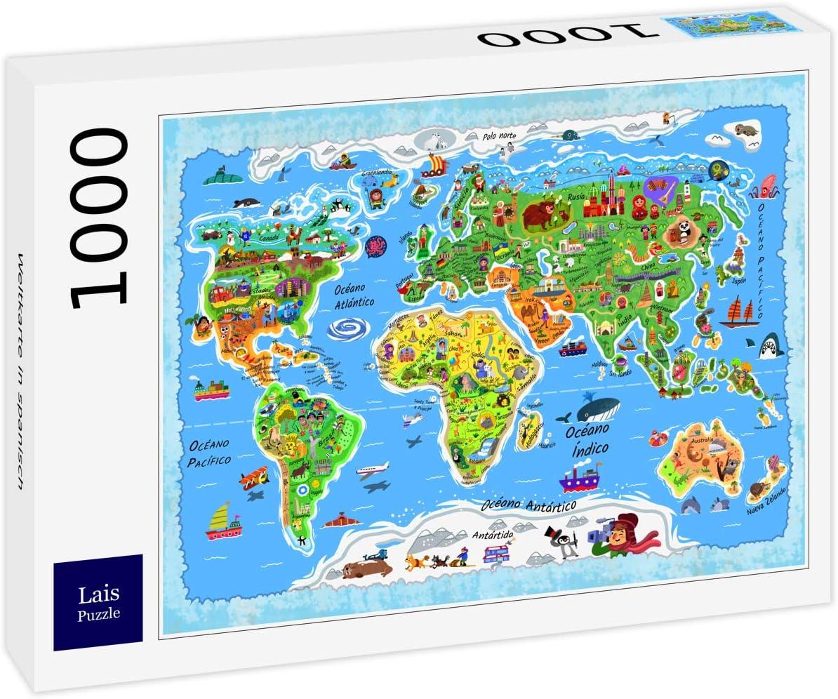 Lais Puzzle Mapa del Mundo en español 1000 Piezas: Amazon.es: Juguetes y juegos