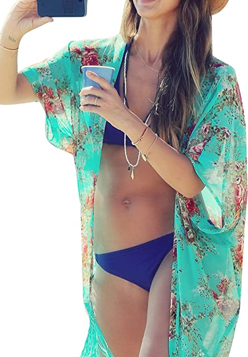 d9bf8e2552 Womens Swimwear Beachwear Bikini Beach Wear Cover up Kaftan Summer Shirt  Dress (one size,