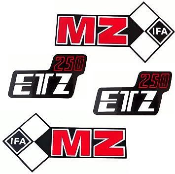 Set 4 Aufkleber Klebefolie Mz Etz 250 Tank Und Seitendeckel Rechts Links